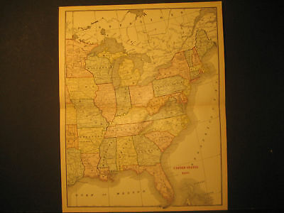 Map Of  Eastern United States Color Lith 1891
