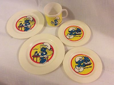 VTG Italy 1983 Smurf Play Dishes 2 plates 2 saucers 1 cup hard plastic