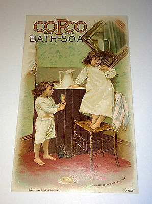 Antique Victorian Copco Bath Soap Advertising Children Brushing Hair Trade Card!