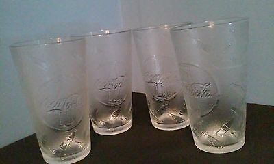 RARE Vintage Coca Cola Coke 20 ounce frosted tumbler glass set of 4 mint