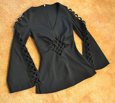 Black V neck Long Sleeve Blouse Witch Sorceress Medieval Goth Faux Corset