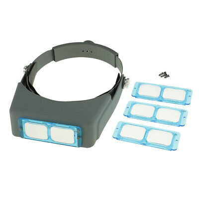 Head Wearing Jeweler Headband Reading Magnifier Magnifying Glass Loupe Gray