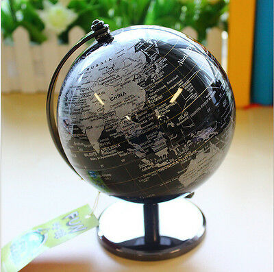 "5"" Vintage BLACK World Map Globe Decorative Tiny Desktop Rotate Geography Globe"