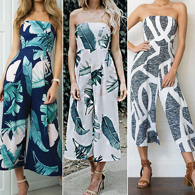 Womens Off Shoulder Holiday Floral Playsuit Ladies Summer Long Jumpsuit Trousers