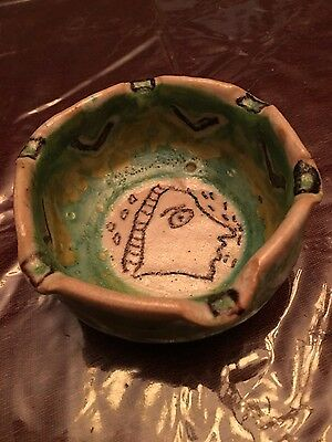 GUIDO GAMBONE Unique Vintage Art Pottery Dish Mid Century Italy Signed -Donkey