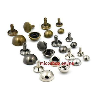 "Double Stud Rivet Round Cap Leather 6mm 8mm 10mm 12mm 15mm 1//4/"" 3//10/"" 3//8/"" 1//2/"""