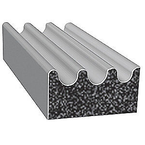 TRIM LOK INC EPDM Rubber Seal,Ribbed,0.38 In W,500 Ft, X113HT-500