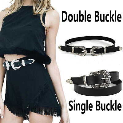 Vintage Style Women's Ladies Silver Single/Double Buckle PU leather Waist Belt
