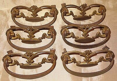 "Antique Set of 6 Victorian Chest of Drawers Dresser Drawer Pulls 3"" Hole to Hole"