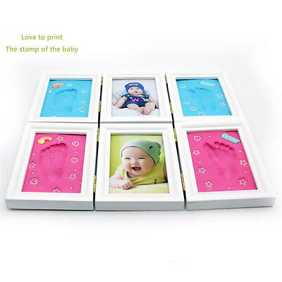 New Baby Footprint Foot or Hand Print Photo Frame Set Kit Christening Gift