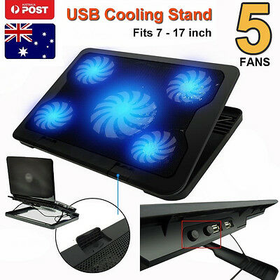 5 Fan LED USB Adjustable Laptop Stand Cooler Cooling Pad For Dell XPS 13 Win10