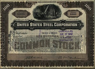 United States Steel Corporation Stock Certificate US New Jersey Tan