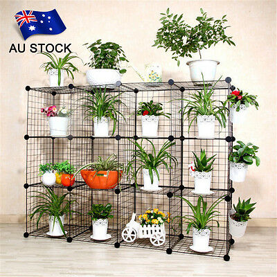 AU STOCK DIY Wire Net Home Flower Plant Stand Bookshelf Storage Cabinet Pet Cage