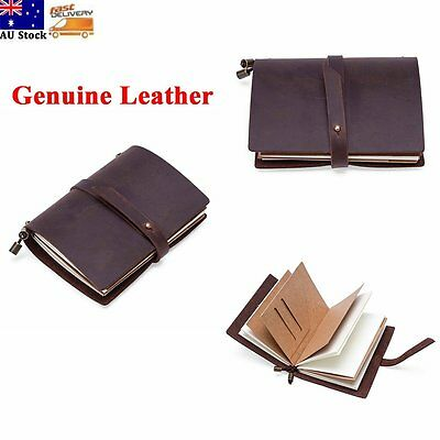 Vintage Genuine Leather Soft Handmade Travel Notebook Diary Journal Refillable
