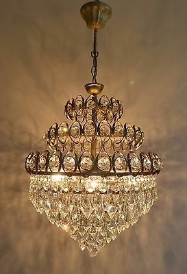 Large French Basket Style Vintage Brass Crystals Chandelier Antique 3 Tier Lamp