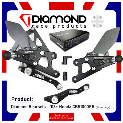 Diamond Race Products - Honda Cbr1000 Rr Fireblade 2008 '08 Rearset Footrest Kit