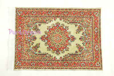 """1/12 Scale Dollhouse Miniature Embroidered Carpet Rug 6 1/3"""" x 3 12/13""""  #OR305"""