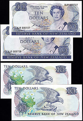 NEW ZEALAND 10 DOLLARS (P172b) N. D. (1985-89) FIRST PREFIX CONSECUTIVE PAIR UNC