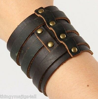 Genuine Brown Leather Wristband Wrist 3 Three Strap Bracelet Mens Bangle Uk A40