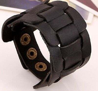 Real Black Leather Weave Wristband Wrist Strap Bracelet Cuff Steampunk Mens A55