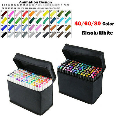 40 60 80 Color Marker Pens Broad Fine Twin Point Animation Art Graphic Draw Gift