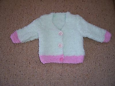 New Hand Knitted Baby Chunky Cardigan  Pale Green & Pink  Newborn