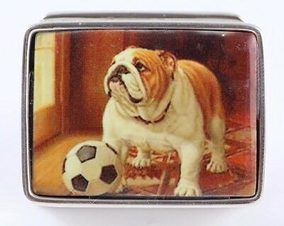 Antique Style Enamel British Bulldog With Football Pill Box 925 Sterling Silver