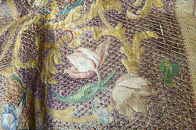 RARE  Embroidered Silk Religious Altar Frontal Flowers Coral Beads Naples C1700