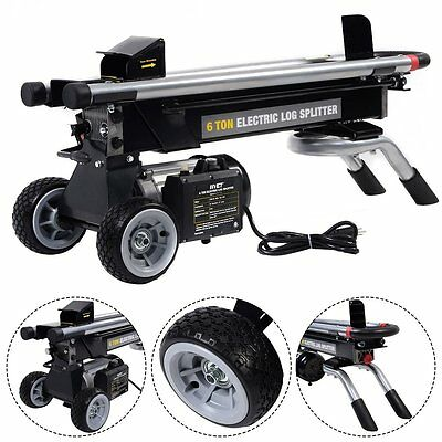 6-Tons Electric Hydraulic Log Splitter Wood Cutter Stoves Fireplace Power Tool