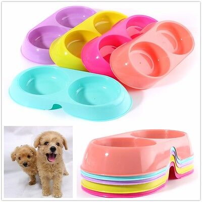 Colorful Pets Dog Puppy Cat Food Water Dish Feeder Duoble Twin Plastic Bowl