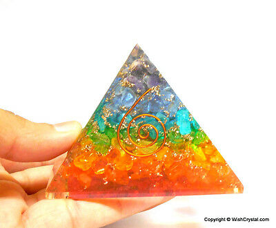 Chakra Pyramid Orgonite Pyramid EMF Protection for Crystal Healing Aura Energy