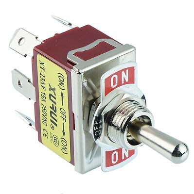 On-Off-On DPDT Toggle Switch 250V AC 15A