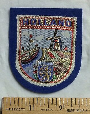 HOLLAND The Netherlands Windmill Boat Coat of Arms Souvenir Woven Felt Patch