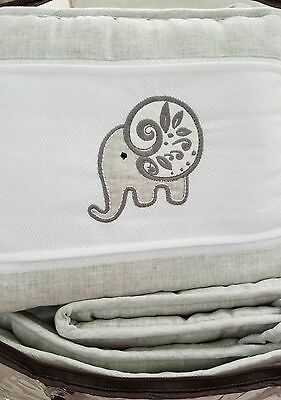 NEW ELEPHANT CHIC Baby Crib Bumper Laugh Giggle & Smile White and Gray