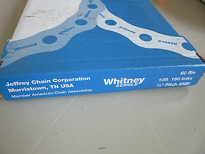 "Whitney Renold 60 RIV Roller Chain 3/4"" Pitch 10' 160 Links NEW!!! in Box"