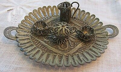 Beautiful Vintage Miniature Silver Filigree Tray & Tea Set  Intricate Designs