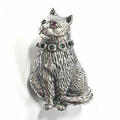 Victorian Style Cat Brooch Natural Rubies And Emeralds 925 Sterling Silver