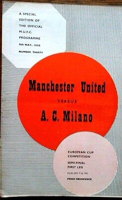 Man Utd V A C Milan 8/5/1958 European Cup Semi Final