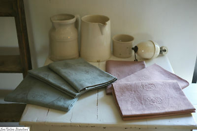 SET 6 MATCHING antique French damask MUTTED BLUE PINK dyed napkins DB monograms