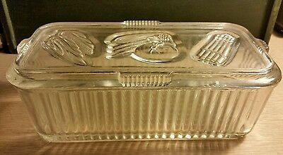 Vintage Federal Clear Ribbed Glass Refrigerator Dish With Vegetable Design