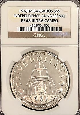 Barbados 1976 Silver $5 Dollar NGC Certified PF 68 31.1g 10 Yrs Of Independence