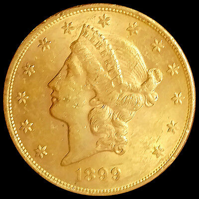 1899 $20 Liberty Head Double Eagle Gold Coin-High Grade-Free Shipping