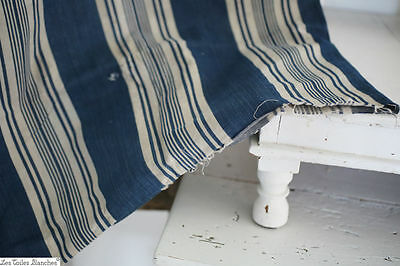 Antique French STURDY large BOLSTER linen cotton mix ticking PATCHED c 1920