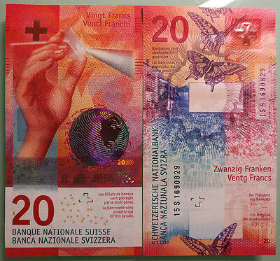 Switzerland Swiss 2017 New Issued Banknotes 20 Francs UNC