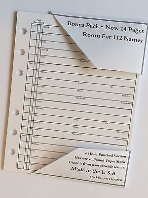 ADDRESS BOOK REFILL 14 Pages fits Hallmark 4 3/4 X 6 Inches And Other Brands