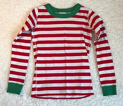 Hanna Andersson Kids euro 120 US 6-7 Red White Green Striped PJ's Shirt  R30