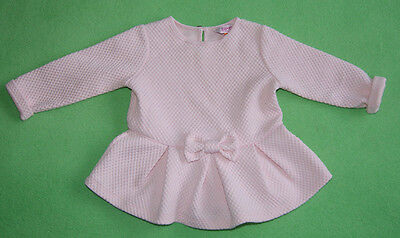 Ted baker pink top long sleeve t-shirt tunic with bow for girl 12-18 months 86cm