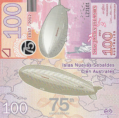 New Jason Islands 100 Australes (2012) - Hindenburg/Statue of Liberty UNC