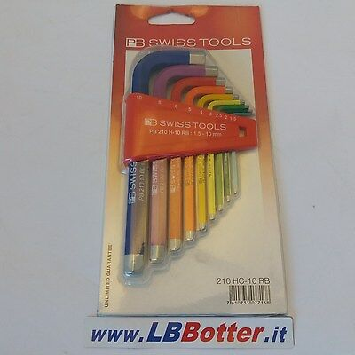 SWISS TOOLS set chiavi maschio esagonali 9 pz. made in Switzerland PB 210HC-10RB