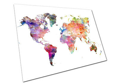 POSTER PRINT WATERCOLOUR map of the world Europe Asia America Africa wall  Poster